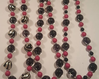 Bubble necklace - bead necklace - Your choice pink, black and silver bubble necklace - girls bubble necklace