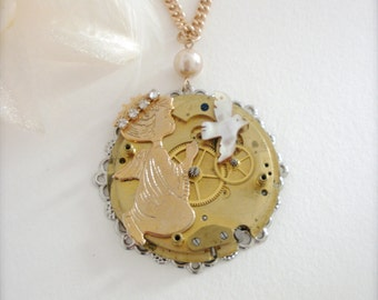 Antique Pocket Watch Movement Steampunk Necklace Angel Bird Antique Watch Movement Long Necklace Statement Necklace Recycled Jewelry Gift