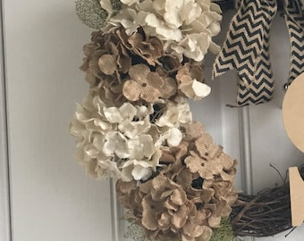 Year round burlap grapevine wreath