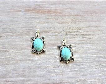 Turtle Turquoise Howlite Earrings