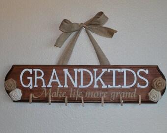 GRANDKIDS Sign - Grandchildren Sign -  Make Life More Grand - Painted Wood Sign - Burlap Flower Sign - christmas gift  - Grandparents Gift