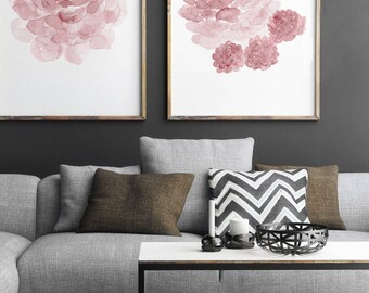 Pink Botanical Print, Cactus set 2 Succulents, Blush Pink Baby Girl Kids Nursery Wall Art Print, Cacti Watercolour Painting Shabby Chic Room