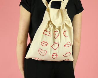 Lips Print Canvas Backpack - Red on Natural