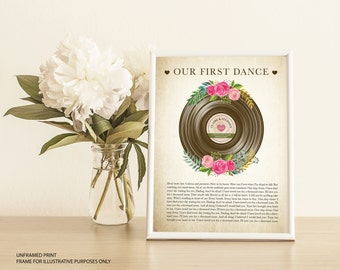 First Dance Or Your Song Personalised Wedding Gift Print - Paper Anniversary - First Anniversary Gift 1st Anniversary