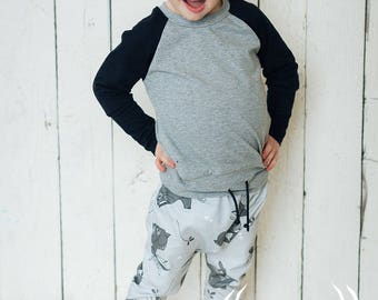 Grow with me pants, Jackalope, rabbit with horns, unisexe, harem pants, 0-12M, 6M-2Y, 3Y-6Y, babies, toddlers, kids, biological cotton