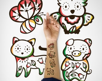 4 in 1 set - Kids Temporary Tattoo, Cat, Piggy, Owl, Bee temporary Tattoo / Cute Animal Temporary Tattoo / Cute decorative Temporary Tattoo