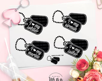 Dog Tag svg, Military Dog Tags svg, Military svg, Army Cut File, Military Wife svg, eps, dxf, png Cut Files for Silhouette for Cricut