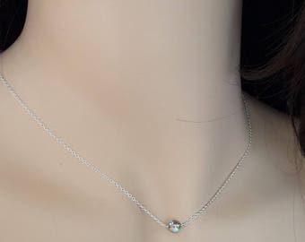Floating Crystal Necklace, Dainty Crystal Necklace, Sterling Silver Necklace, Everyday Jewelry, Bridesmaid Necklace, Single Bead Necklace