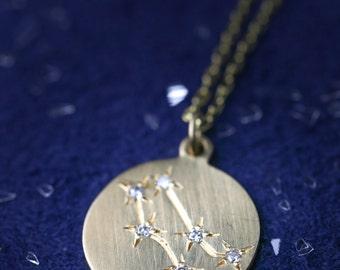 Gemini necklace, Gemini star constellation disc pendant personalized zodiac astrology, diamonds & solid 14k yellow rose white gold, sc-n101