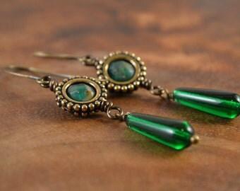 Bohemian Earrings, Green Earrings, Czech Glass Earrings, Bohemian Jewelry, Boho Earrings, Boho Dangle Earrings, Dangle Earrings