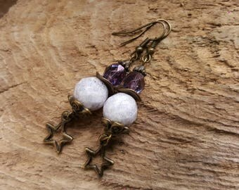 Purple & Bronze Beaded Earrings, Star Charm Earrings, Dangle Earrings