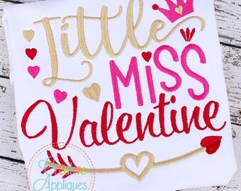 Little Miss Valentine Embroidery Digital Machine Embroidery Design 4 Size, valentine embroidery, little miss embroidery, lil miss embroidery