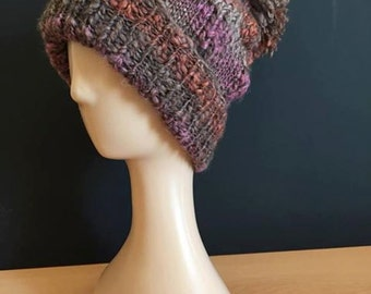 Hand Knitted bobble hat - plum/dark orange/brown (foxley)