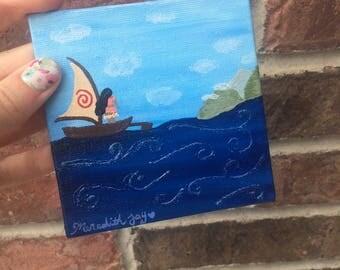 Moana, How Far I'll Go, Ocean,  Mini Disney Painting, With Easel