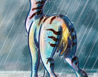 Fantasy Creature in the Rain Digital Painting