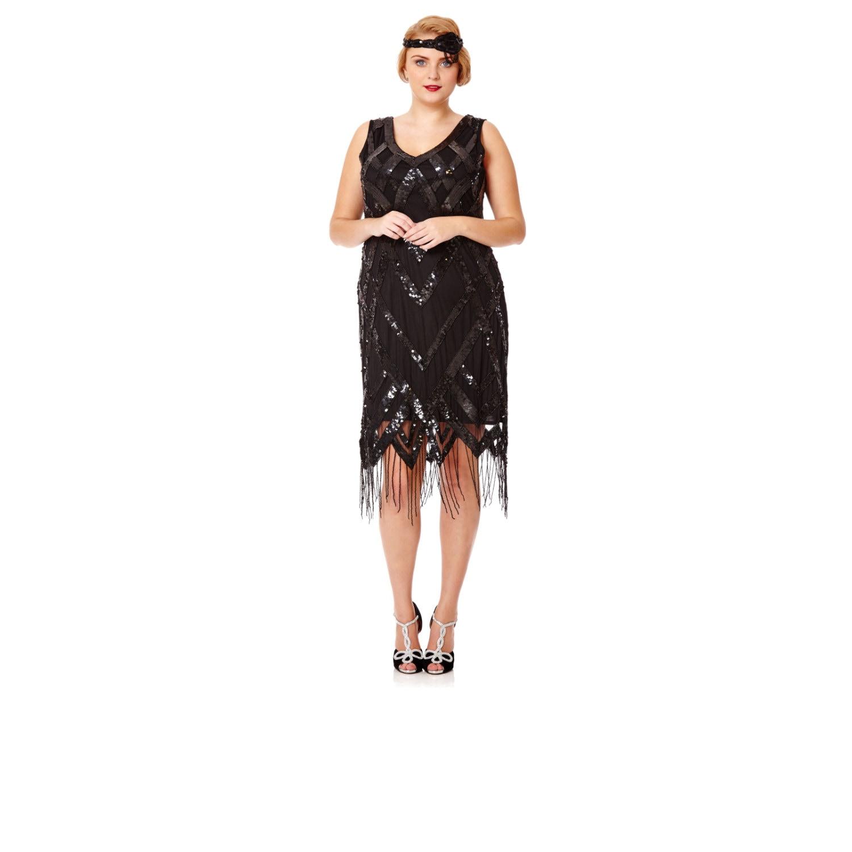 Plus Size Glitz Black Fringe dress Vintage inspired 1920s Flapper ...