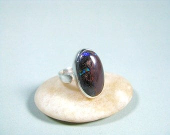Boulder Opal Ring, Bezel Setting, Sterling Silver, Handmade Jewelry, Australian, Womans, Koroit, Natural Gemstone, Gift