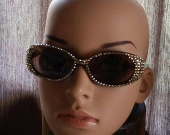 VINTAGE Swarovski Crystal Statement Sunglasses - Sparkling Champagne Sunnies - Crystal Encrusted Wrap Around Shades - Spectacular SPECTACLES
