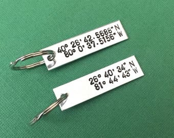 Coordinate Keychains - Set of 2 - GPS Latitude & Longitude - Long Distance Relationship - Anniversary Gifts - Custom Hand Stamped - Man Gift