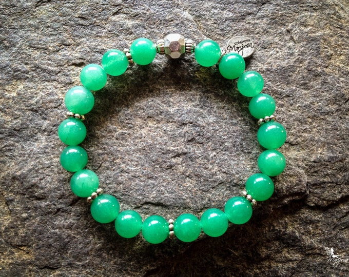 Intention bracelet yoga jewelry Aventurine gemstone heart Chakra intentions abundance prosperity Mala handmade by Creations Mariposa BI-A