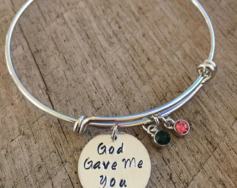 God Gave Me You Bracelets with Birthstones, Personalized Charms, Metal Stamping