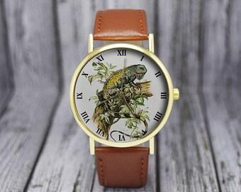 Green Iguana Watch | Lizard Watch | Leather Watch | Ladies Watch | Men's Watch | Gift for Her | Birthday Gift Ideas | Fashion Accessories