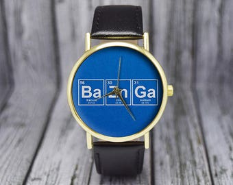 Bazinga Element Style Watch | Periodic Table | Humor Gift | Women's Watch | Men's Watch | Geekery | Birthday Gift Ideas | Science