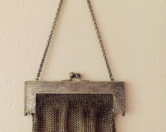 Vintage German Silver Mesh Purse Marked BN Co 1920's_Vanity Decoration_Bathroom Decor