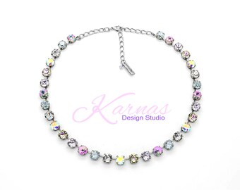 COOL & CASUAL 8mm Crystal Necklace Made With Swarovski *Pick Your Finish *Karnas Design Studio *Free Shipping