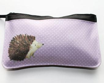 Hedgehog pink zip pouch, makeup bag, pencil case, toiletries bag, cosmetics bag
