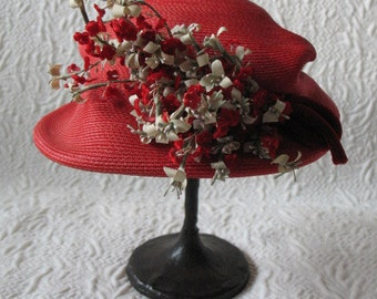Vintage Red Straw Hat Quaint Hat Flower Embellishment Velvet Ribbon Architectural Styling Statement Hat circa 1920's- 1940's WhenRosesBloom