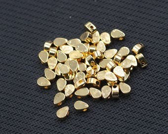 10 pcs Gold Plated Teardrop Beads Jewelry Making Supplies Wholesale Charm YHA-301-7013