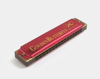 Vintage Tin Harmonica by Golden Butterfly - red gold french harp mouth organ music musical instrument toy blues band made in china