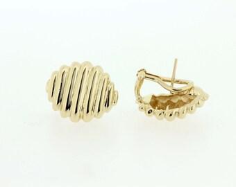 14K gold Omega-back Wave Earrings