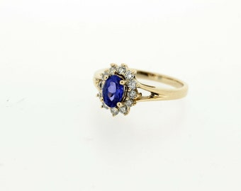 Oval Sapphire and Diamond Halo Ring 14K Gold