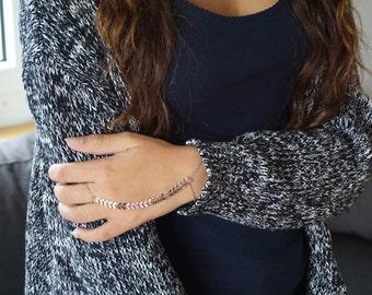 Chevron Slave Bracelet, Gold, Silver, Rose Gold, Hand Harness, Kardashian, Tribal Jewelry, Finger Chain Ring, Boho, Gypsy, Womens, Valentine