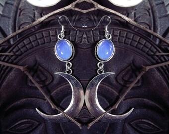 Opalite Moon Earrings, Witch Earrings, Lunar Earrings, Half Moon, Blue Crystal Earrings