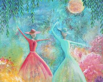 Sunday Hats, Print from Original Acrylic Painting, Home Decor, Blue, Pink, Teal, Green, Yellow, Abstract Art, Women Dancing, Garden
