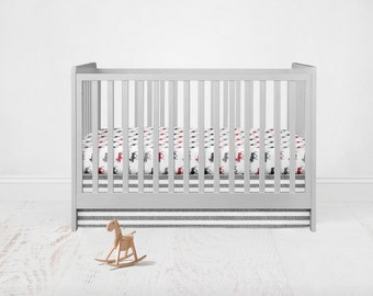 Moose Crib Bedding Set. Toddler Sheet. Baby Bedding. 2 Piece Set - Fitted Crib Sheet, Crib Skirt. Grey, Red, White  Bedding Set.