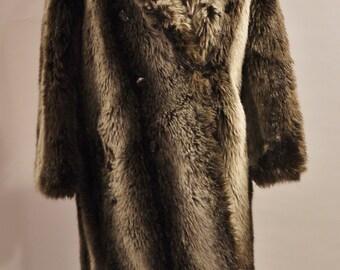Vintage Long Brown Faux Fur Coat