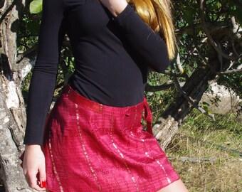 Wrap Around Skirt Gypsy Skirt Fairy Clothing Hippie Skirt Silk Skirt Ethnic Skirt Mini Skirt Boho Skirt Short Skirt Elven Clothing Dress