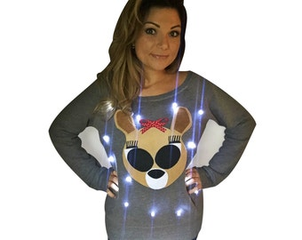 Women's UGLY CHRISTMAS SWEATER - Clarice!!! - Light Up - Swoop Neck / Off The Shoulder Christmas Sweater  _____**Fast Shipping**_____