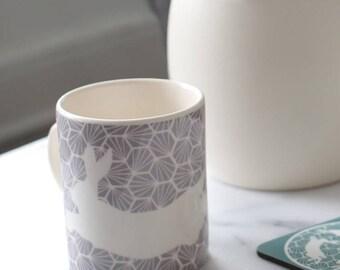 Grey Geometric Hares Ceramic Mug
