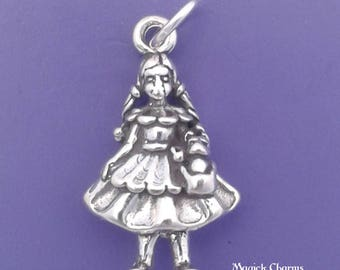 DOROTHY With Toto Charm .925 Sterling Silver Girl with Dog, Wizard Of Oz Themed Pendant - lp3398