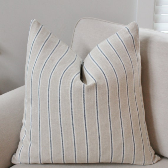 Striped Linen Pillow Cover // Natural Navy Classic