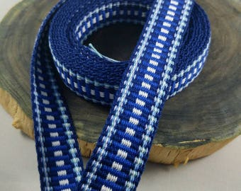"Inkle weaving ribbon, strap, band, or trim - 7/8"" handwoven -  SCA, LARP, Viking, and Cosplay - Blue and white"