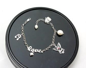 Sterling Silver Angel Love Heart bracelet-Angel Jewelry-Silver Bracelet-Pearl Bracelet-Love Sign Jewelry-Heart Jewelry-love Bracelet