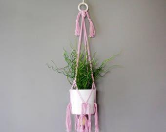 Pink macramé pot hanger