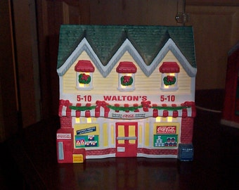 Coca Cola Town Square Walston's 5 & 10 Lighted Porcelain Christmas Village Building 1996 #56271
