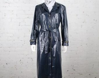 1970s Gucci Raincoat RARE Navy blue oilcloth coat waterproof 48 L